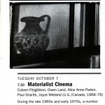 "Geritz, Kathy. ""Alternative Visions: Materialist Cinema – Coleen Fitzgibbon, Owen Land, Alice Anne Parker, Paul Sharits, Joyce Wieland,"" BAM/PFA Art & Film Notes, September/October 2008."