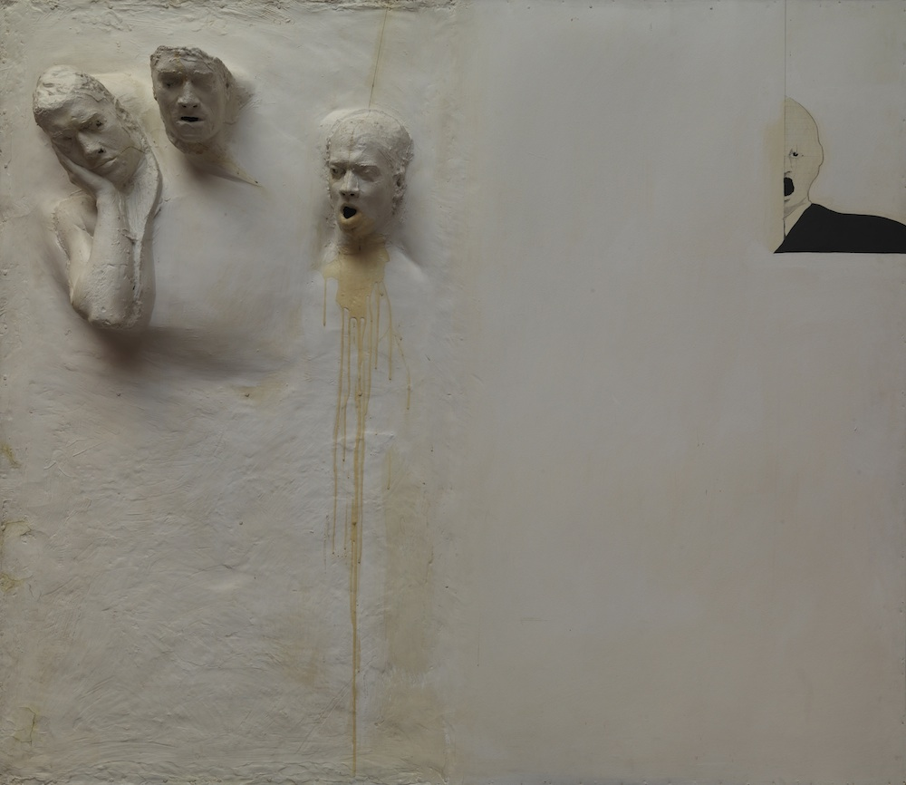 Screen for Six Men Getting Sick. Fiberglass, resin, acrylic, and graphite with masonite panel, 71 5/8 x 82 ¾ x 10 in. Collection of Rodger LaPelle and Christine McGinnis, Philadelphia, PA.