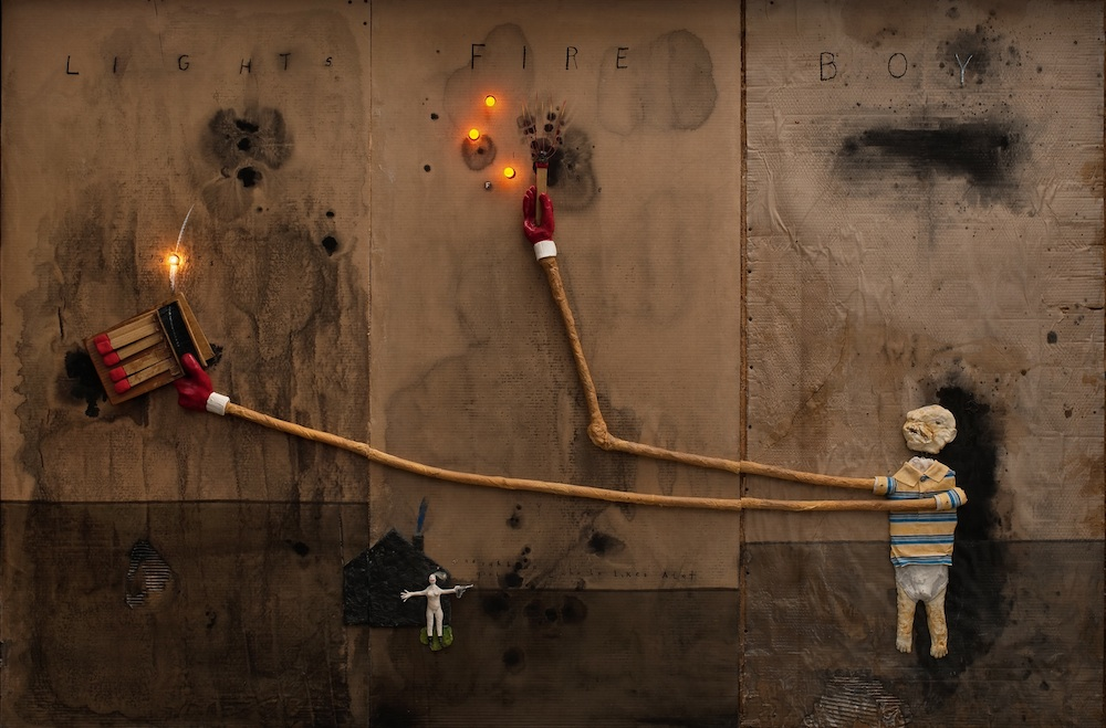 Boy Lights Fire, 2010. Mixed media on cardboard, 72 x 108 in. Courtesy of the artist.